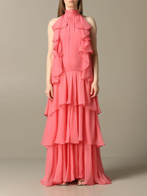 Robes Alberta Ferretti: Robe longue en organza Alberta Ferretti rose 1