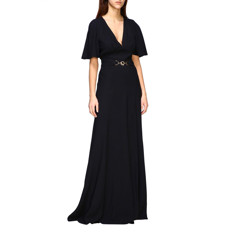 Платье Alberta Ferretti: Платье длинное из сатина Женское Alberta Ferretti черный 1