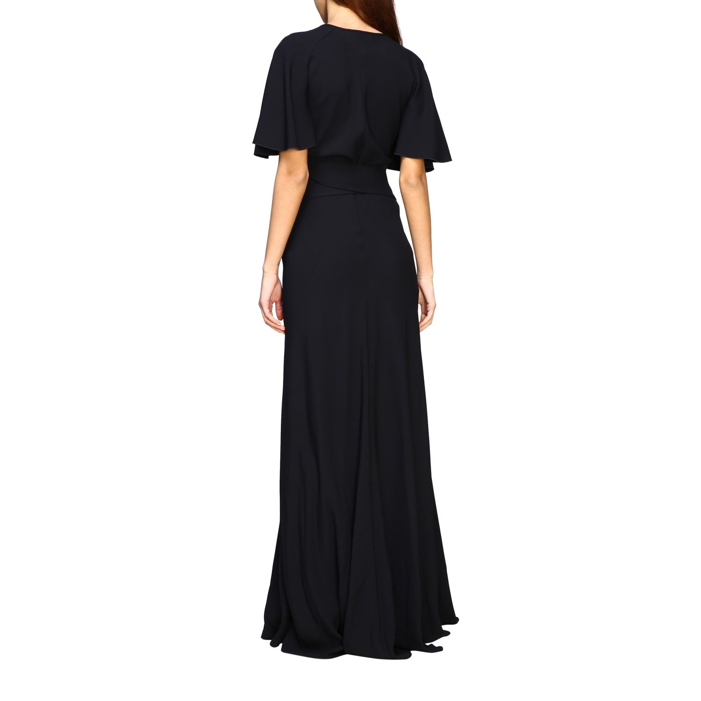 Платье Alberta Ferretti: Платье длинное из сатина Женское Alberta Ferretti черный 2
