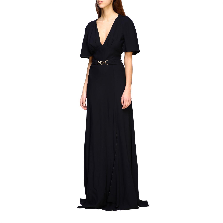 Платье Alberta Ferretti: Платье длинное из сатина Женское Alberta Ferretti черный 3