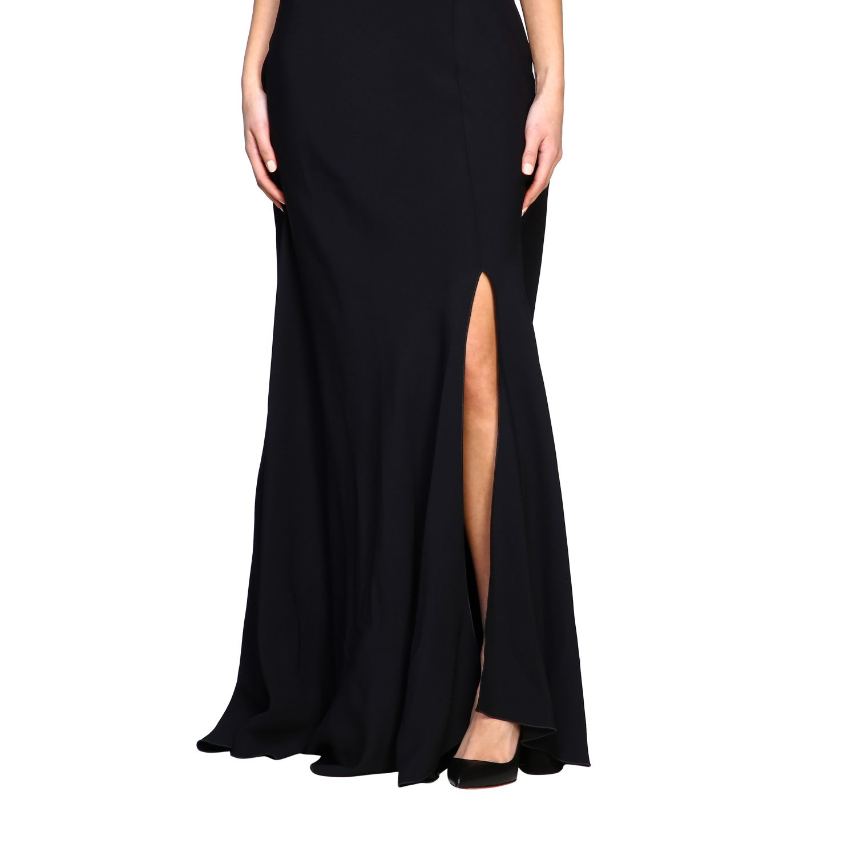 Платье Alberta Ferretti: Платье длинное из сатина Женское Alberta Ferretti черный 4