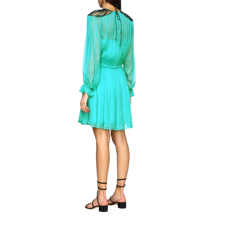 Robes Alberta Ferretti: Robe en mousseline Alberta Ferretti avec broderies sur le col vert 2