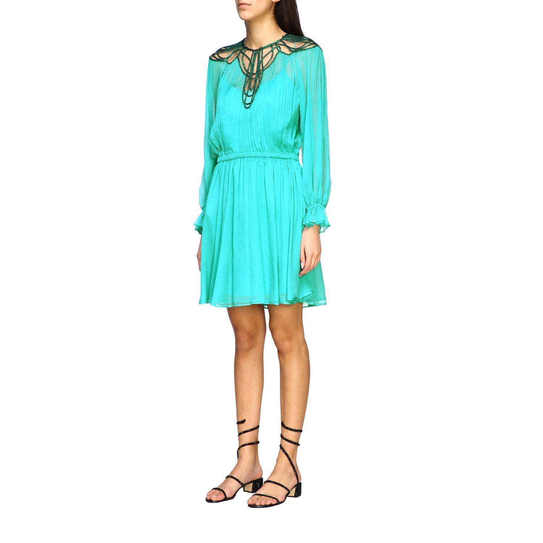 Robes Alberta Ferretti: Robe en mousseline Alberta Ferretti avec broderies sur le col vert 3