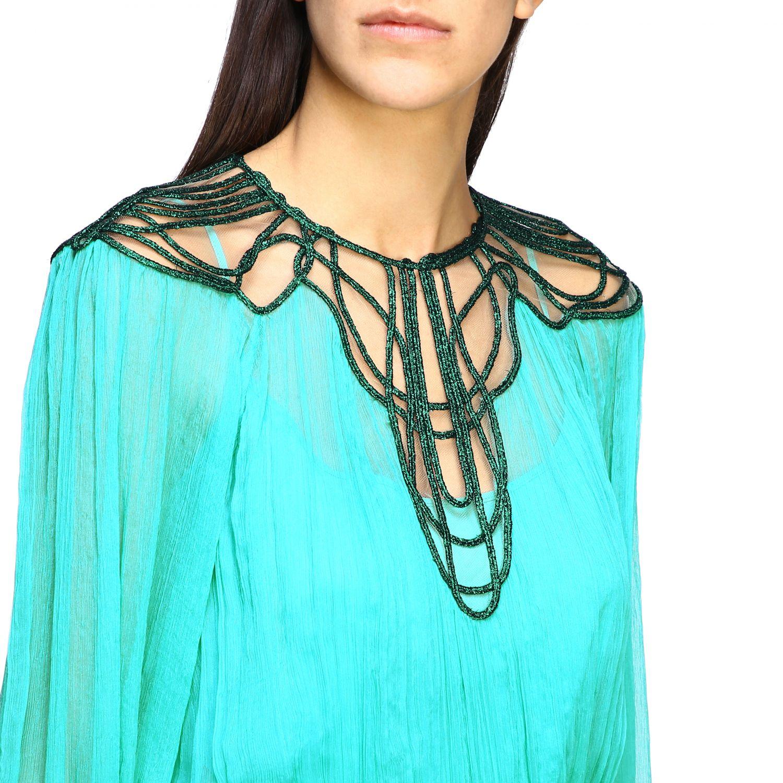 Robes Alberta Ferretti: Robe en mousseline Alberta Ferretti avec broderies sur le col vert 4