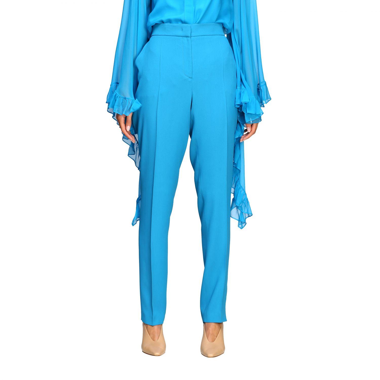 Pantalon Alberta Ferretti: Pantalon Alberta Ferretti en satin avec poches américaines bleu azur 1