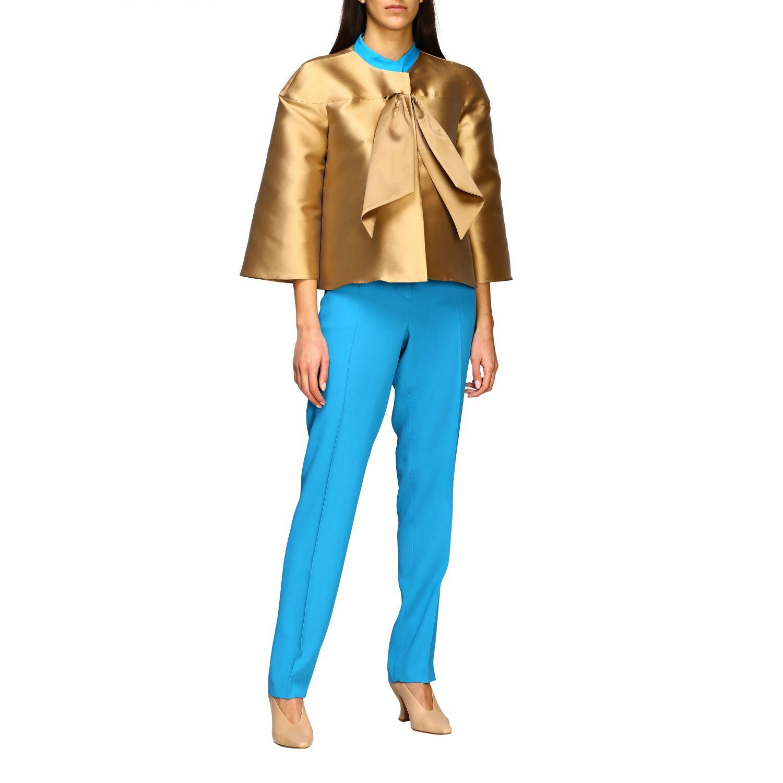 Pantalon Alberta Ferretti: Pantalon Alberta Ferretti en satin avec poches américaines bleu azur 2