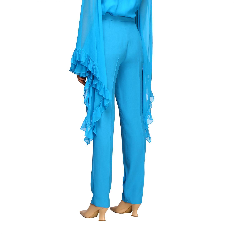 Pantalon Alberta Ferretti: Pantalon Alberta Ferretti en satin avec poches américaines bleu azur 3