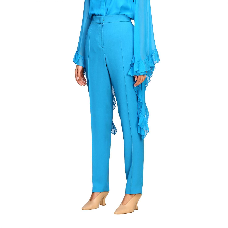 Pantalon Alberta Ferretti: Pantalon Alberta Ferretti en satin avec poches américaines bleu azur 4