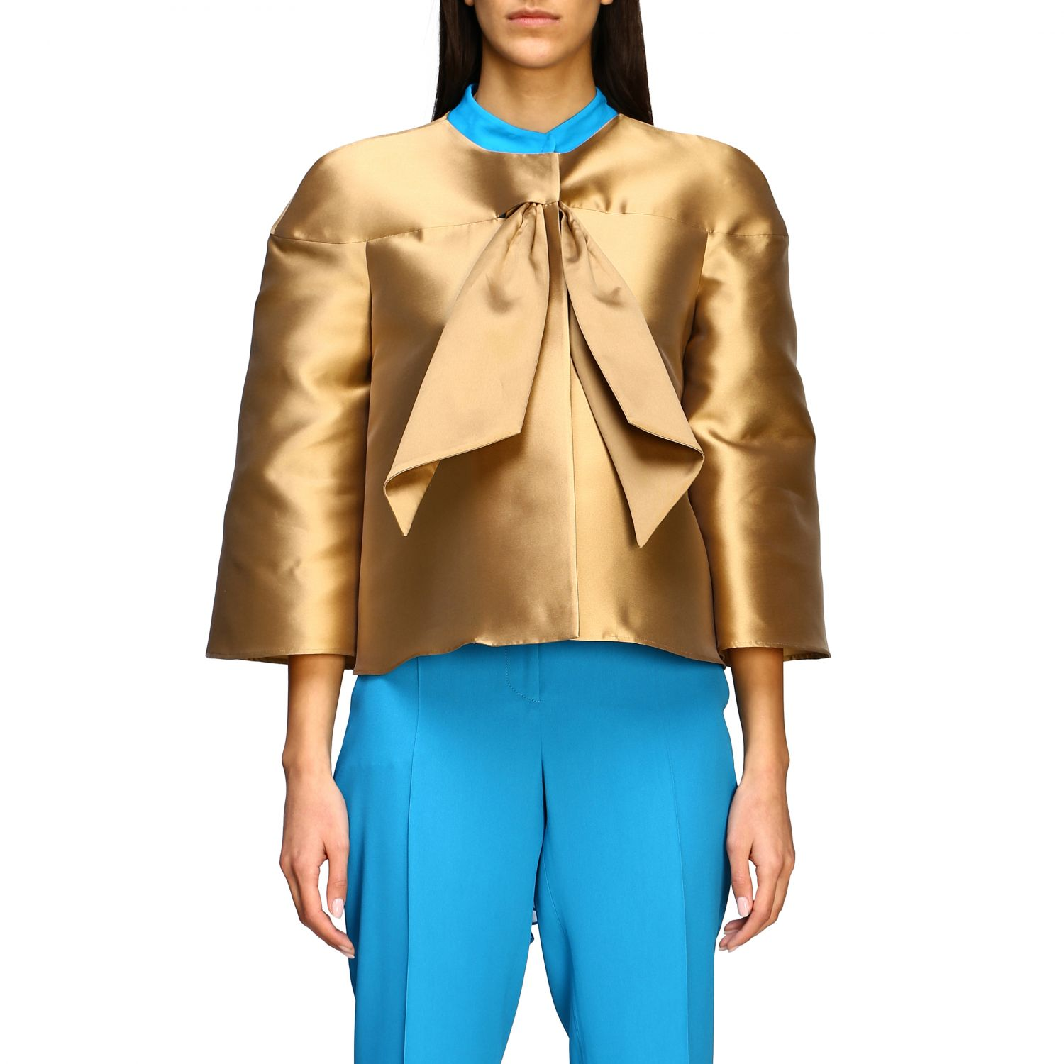 Jacket Alberta Ferretti: Alberta Ferretti jacket in mikado without collar gold 1