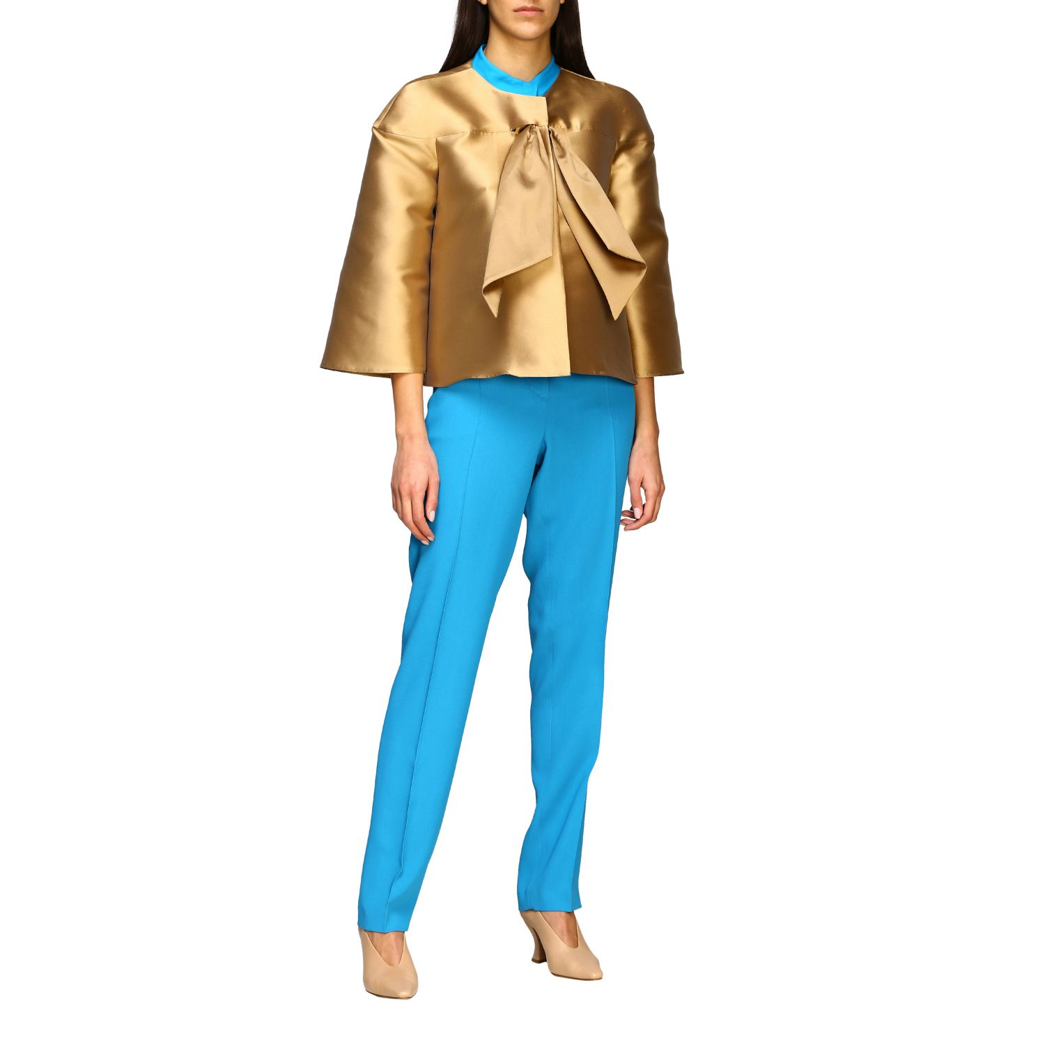 Jacket Alberta Ferretti: Alberta Ferretti jacket in mikado without collar gold 2