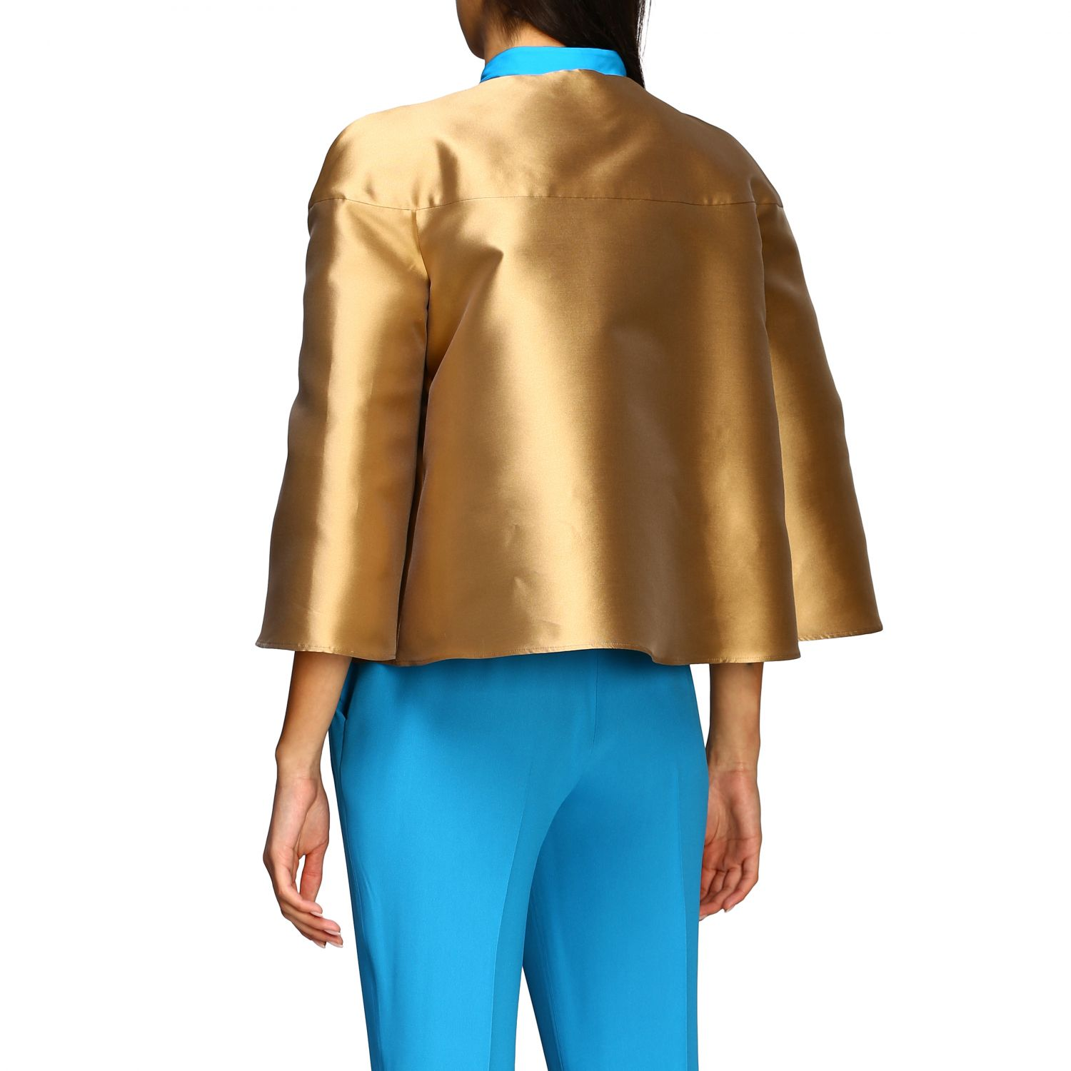 Jacket Alberta Ferretti: Alberta Ferretti jacket in mikado without collar gold 3