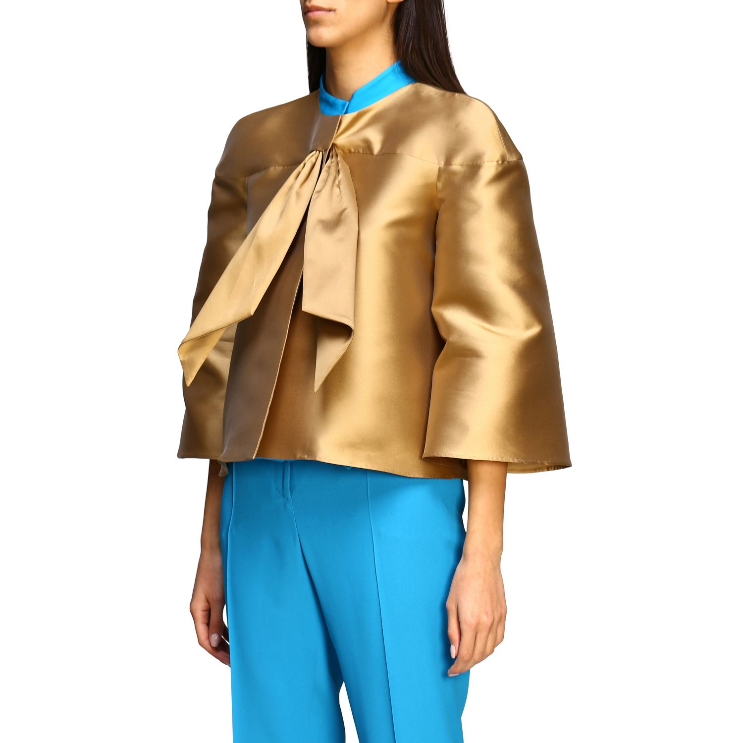 Jacket Alberta Ferretti: Alberta Ferretti jacket in mikado without collar gold 4