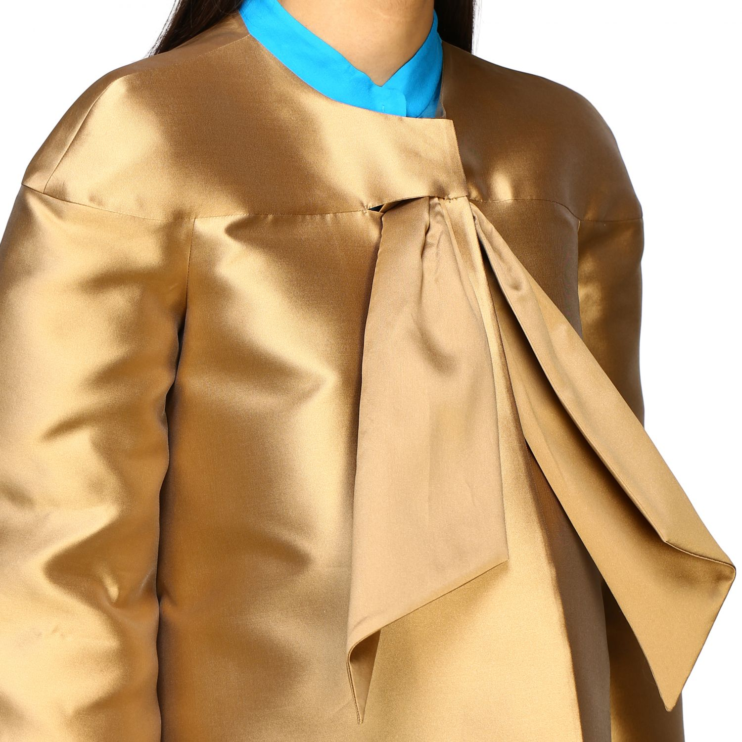 Jacket Alberta Ferretti: Alberta Ferretti jacket in mikado without collar gold 5