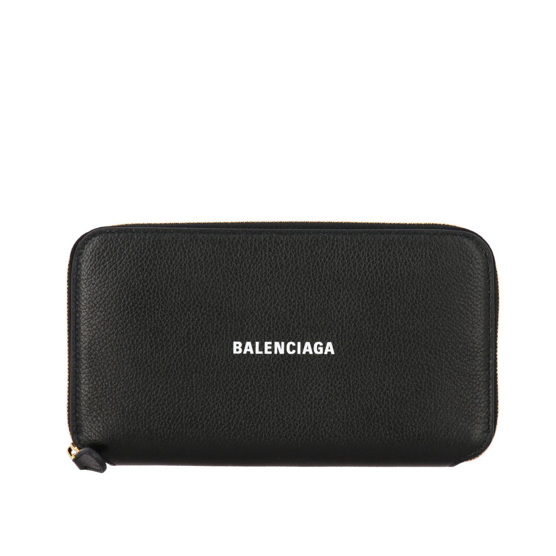Portafoglio Balenciaga in pelle martellata con logo nero 1