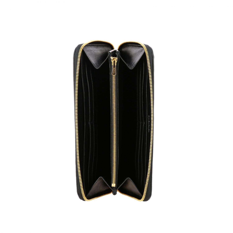 Portafoglio Balenciaga in pelle martellata con logo nero 2