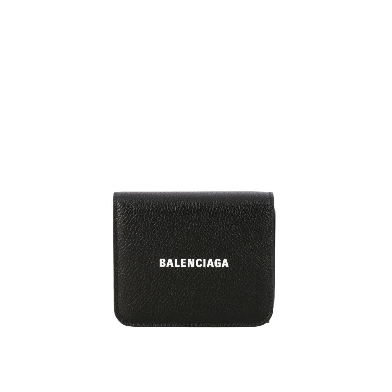 Portafoglio Balenciaga mini in pelle martellata nero 1
