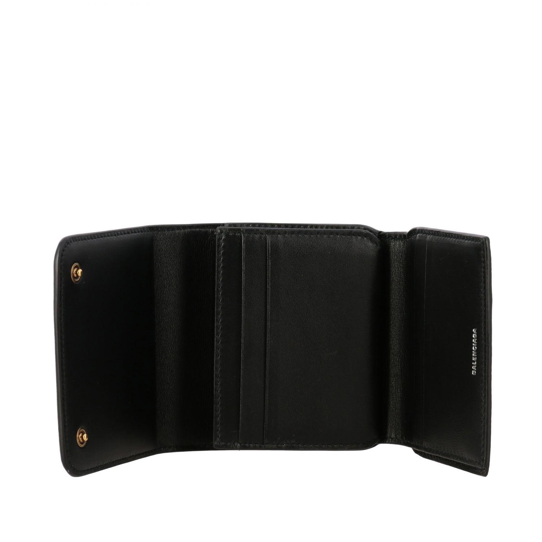 Portafoglio Balenciaga mini in pelle martellata nero 2