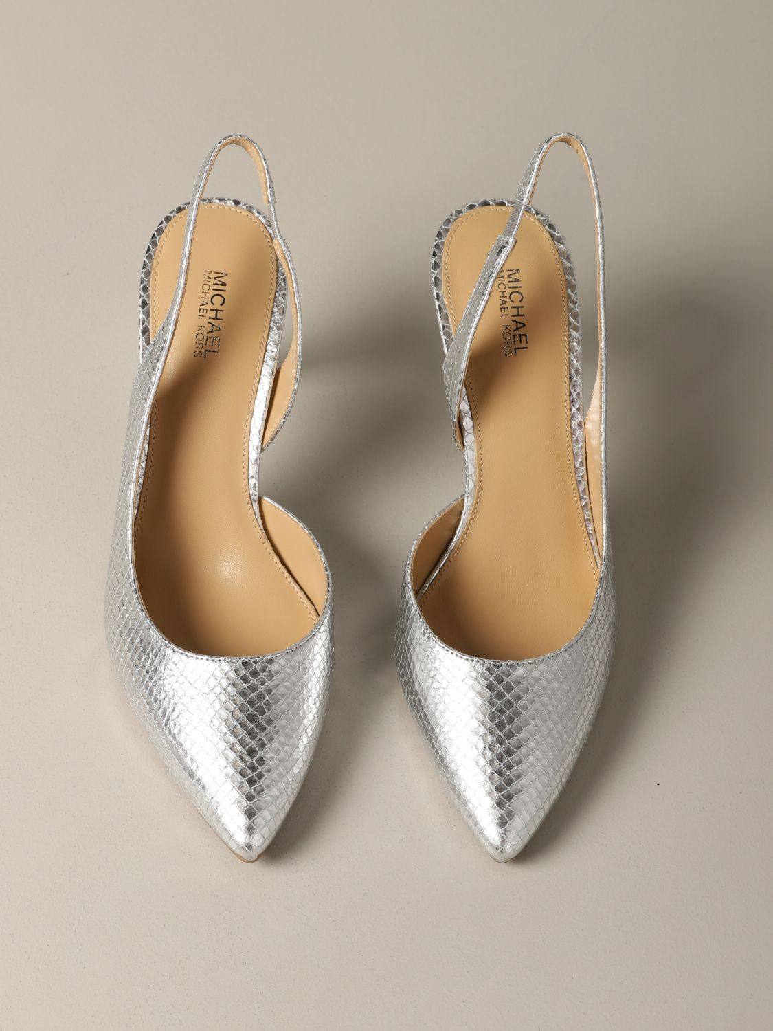 Michael Michael Kors Lucille flex d'orsay pumps in python print leather silver 3