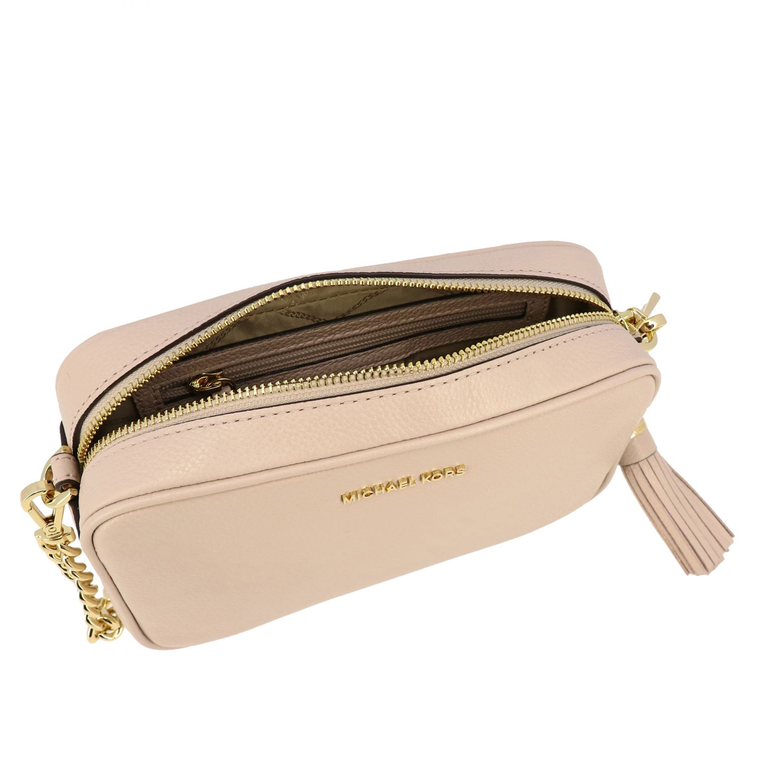 Borsa Jet Set camera bag Michael Michael Kors in pelle cipria 5