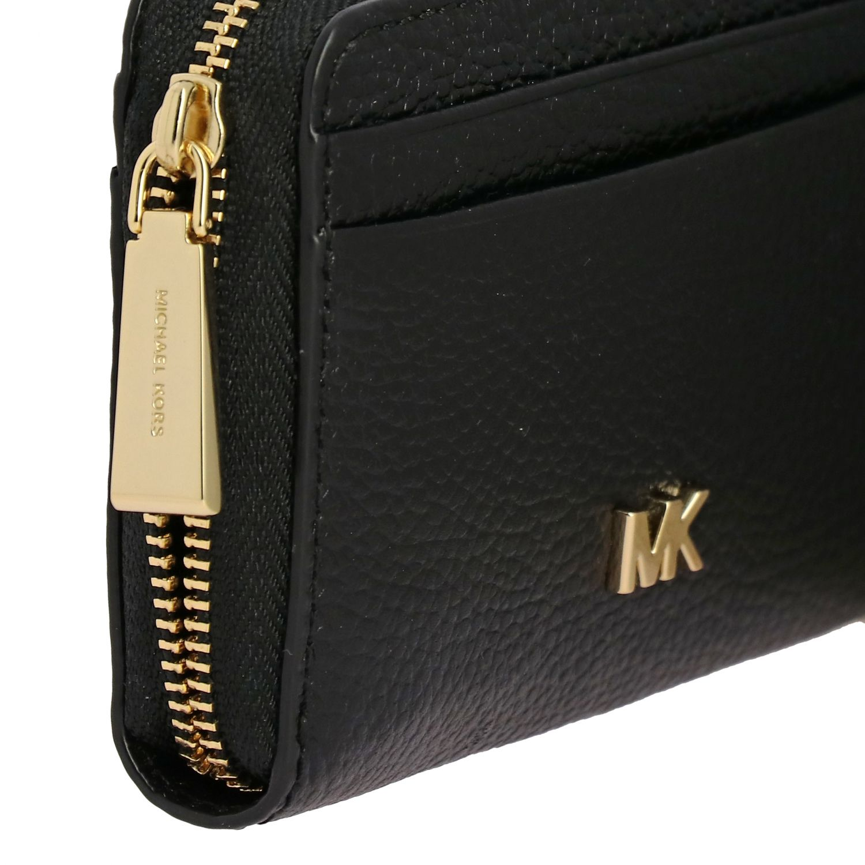 Portafoglio Mott mini Michael Michael Kors in pelle con logo metallico nero 4