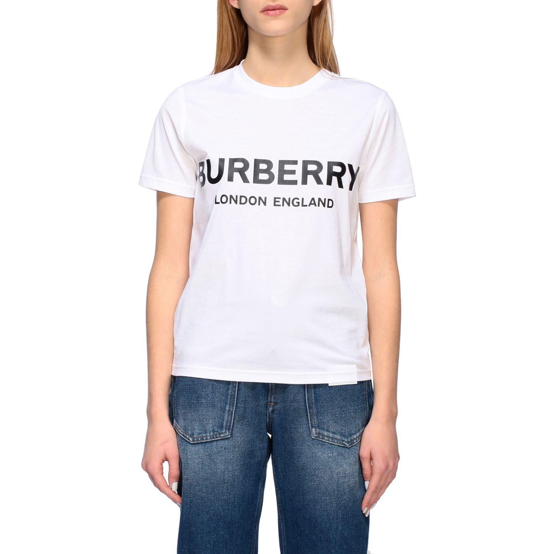 T-shirt Burberry con stampa logo bianco 1