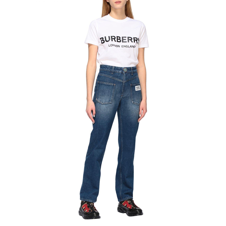 T-shirt Burberry con stampa logo bianco 2