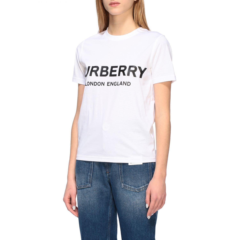 T-shirt Burberry con stampa logo bianco 4