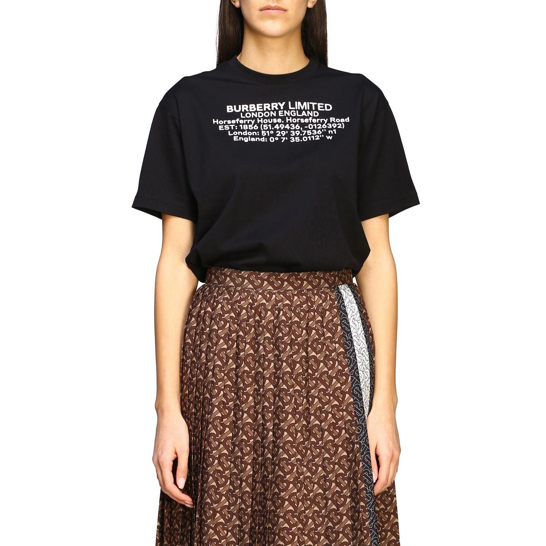 Carrick Burberry T-Shirt mit geografischen Koordinaten schwarz 1