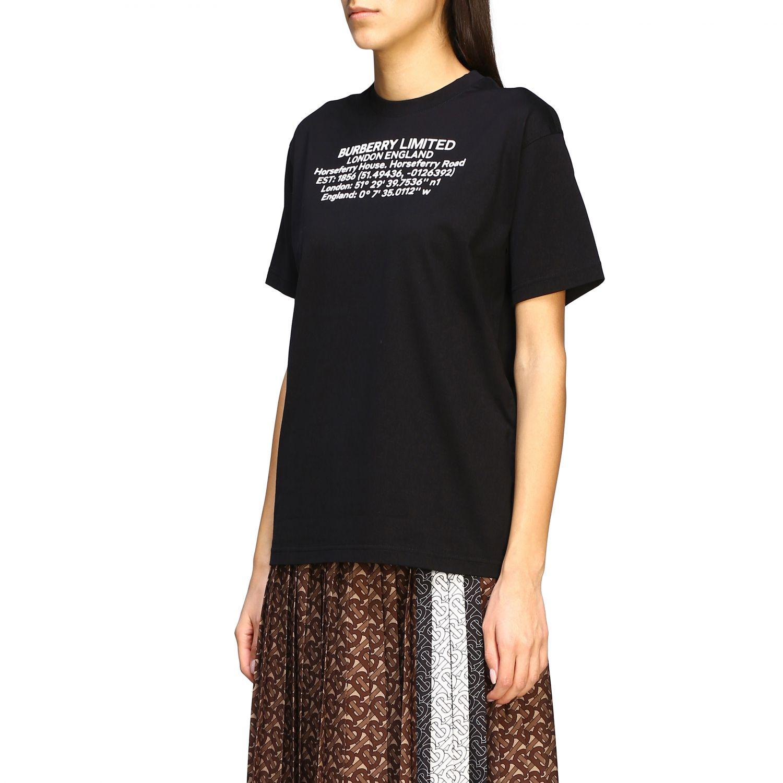 Carrick Burberry T-Shirt mit geografischen Koordinaten schwarz 4