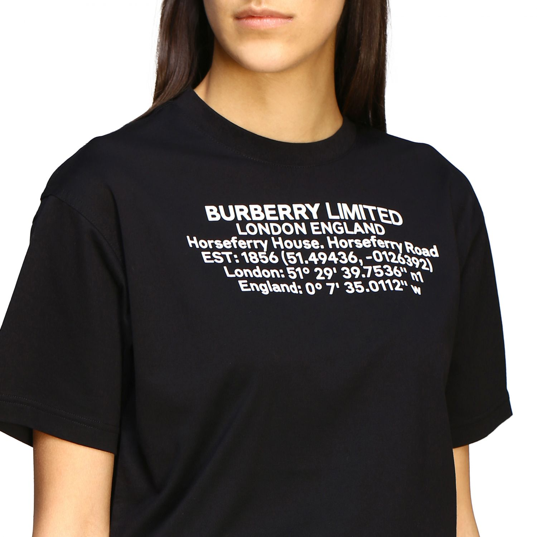 Carrick Burberry T-Shirt mit geografischen Koordinaten schwarz 5