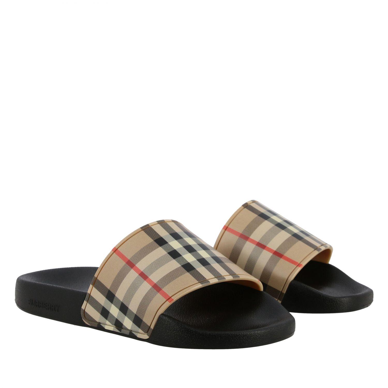 Sandalo a ciabatta Furley Burberry check beige 2