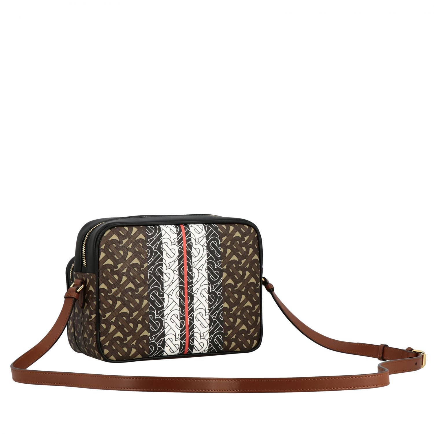 Burberry leather shoulder bag with all over TB print beige 3
