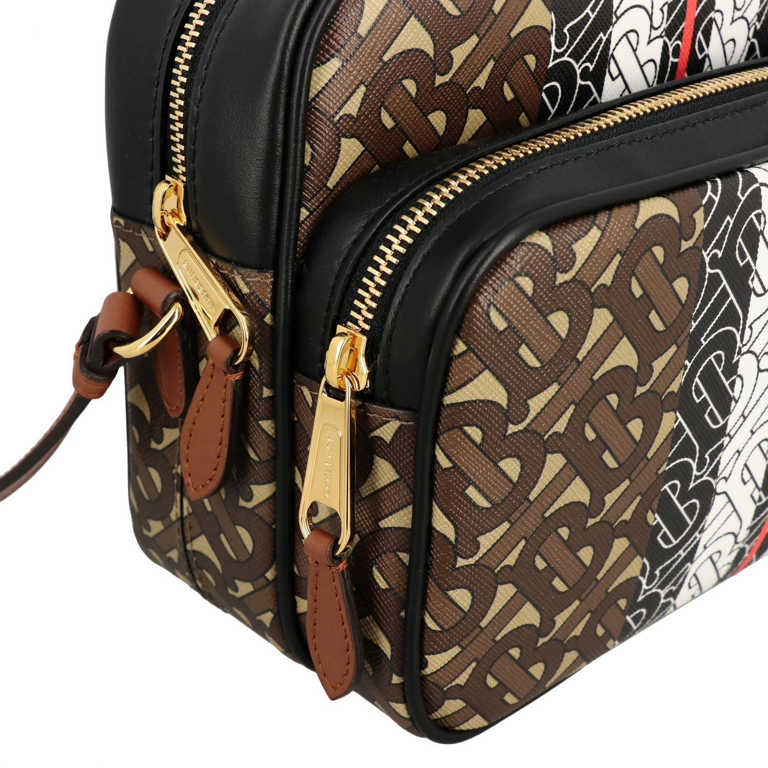 Burberry leather shoulder bag with all over TB print beige 4