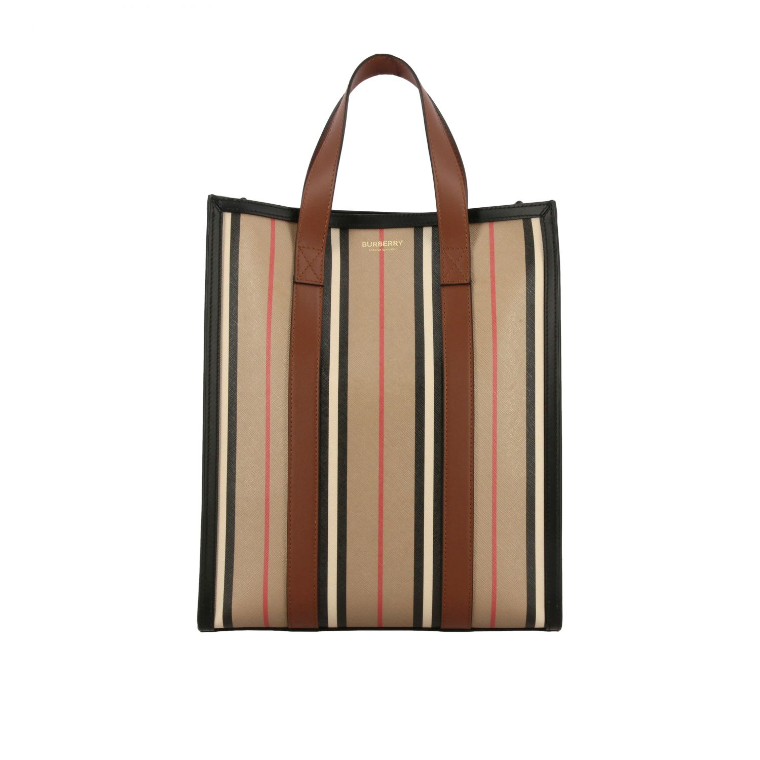 Borsa Book tote shopping Burberry in pelle a righe vintage beige 1