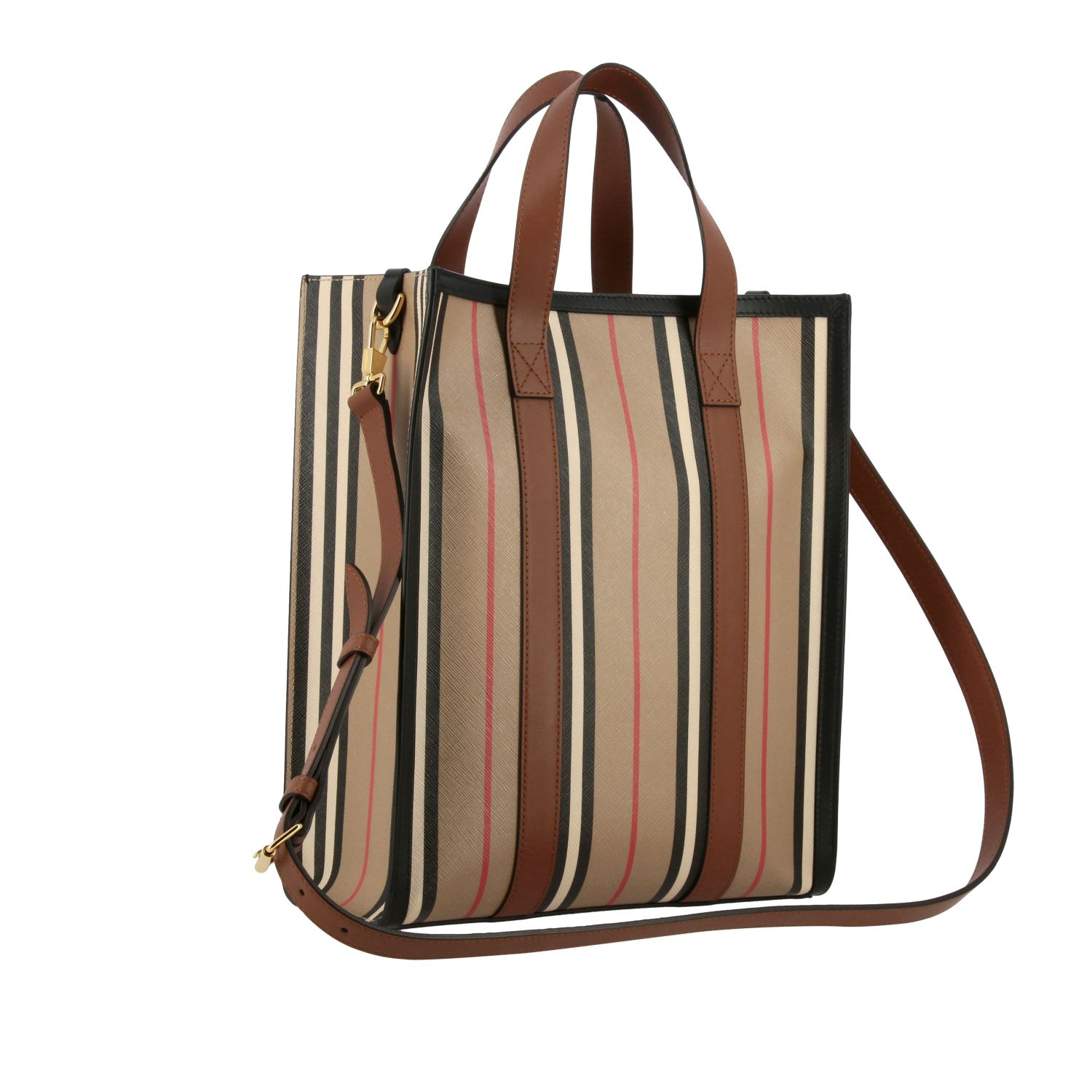 Borsa Book tote shopping Burberry in pelle a righe vintage beige 3