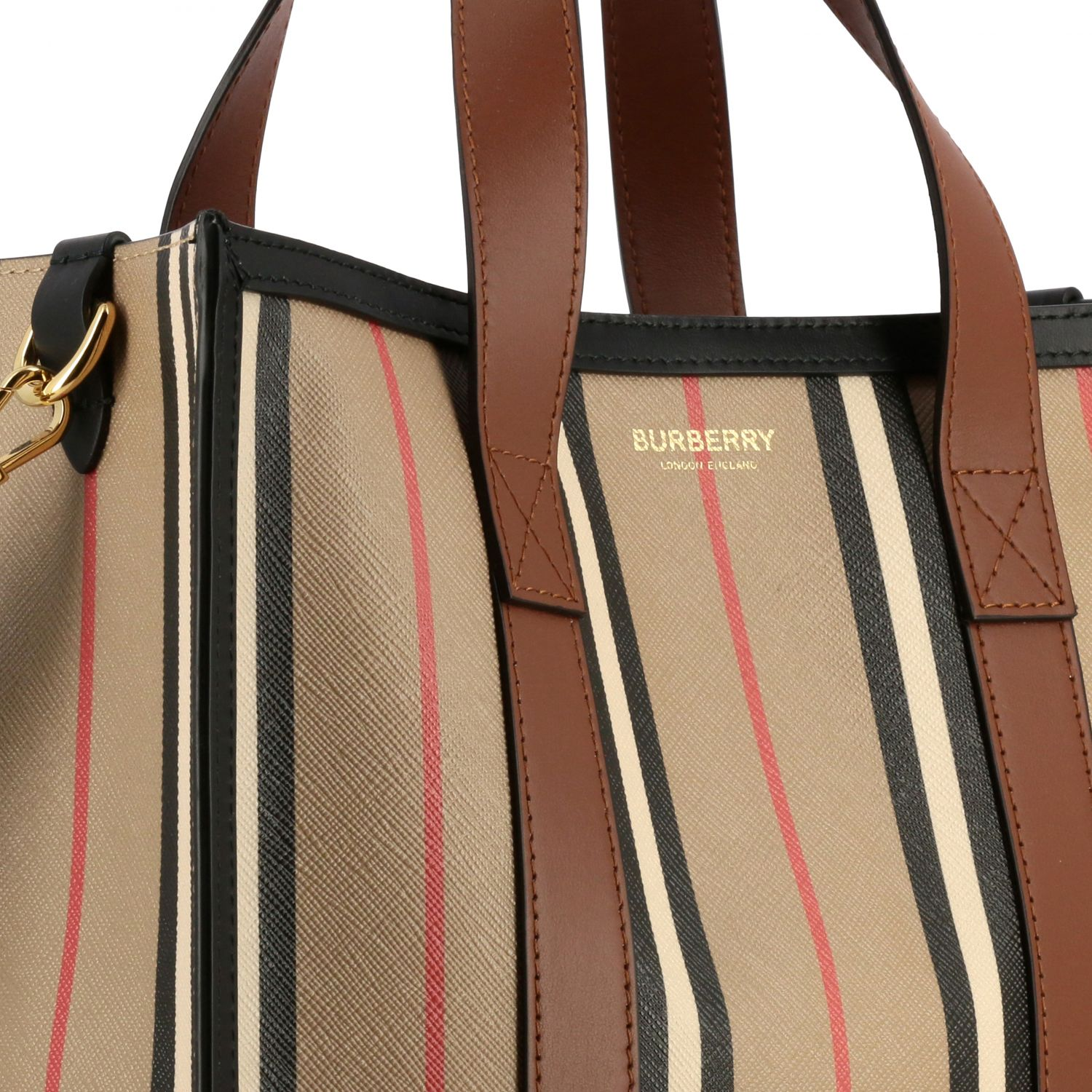 Borsa Book tote shopping Burberry in pelle a righe vintage beige 4