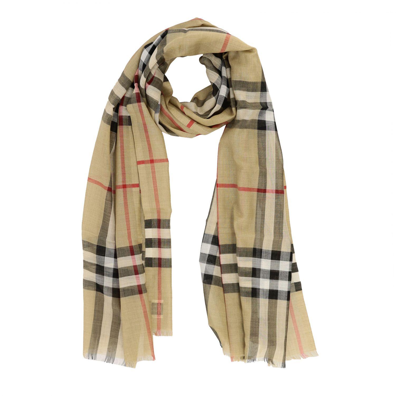 Sciarpa Gauze novelty Burberry in lana e seta check beige 2