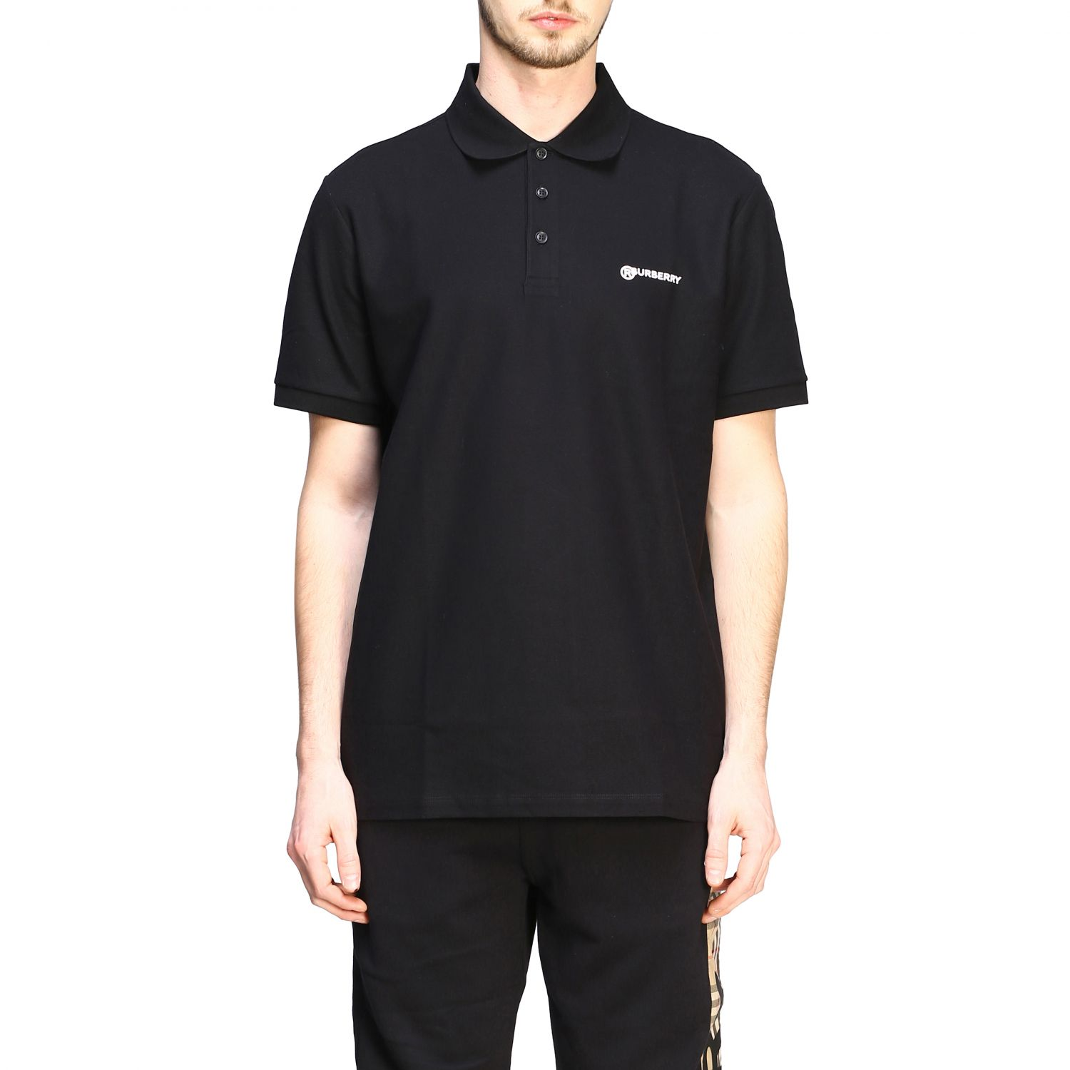 Polo shirt Burberry: Short-sleeved Burberry polo shirt with embroidered logo black 1