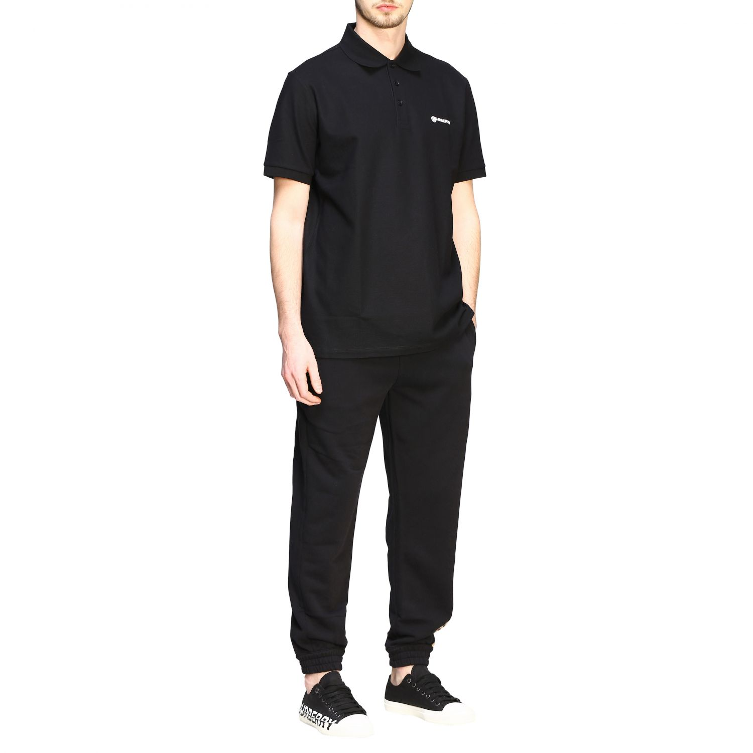 Polo shirt Burberry: Short-sleeved Burberry polo shirt with embroidered logo black 2