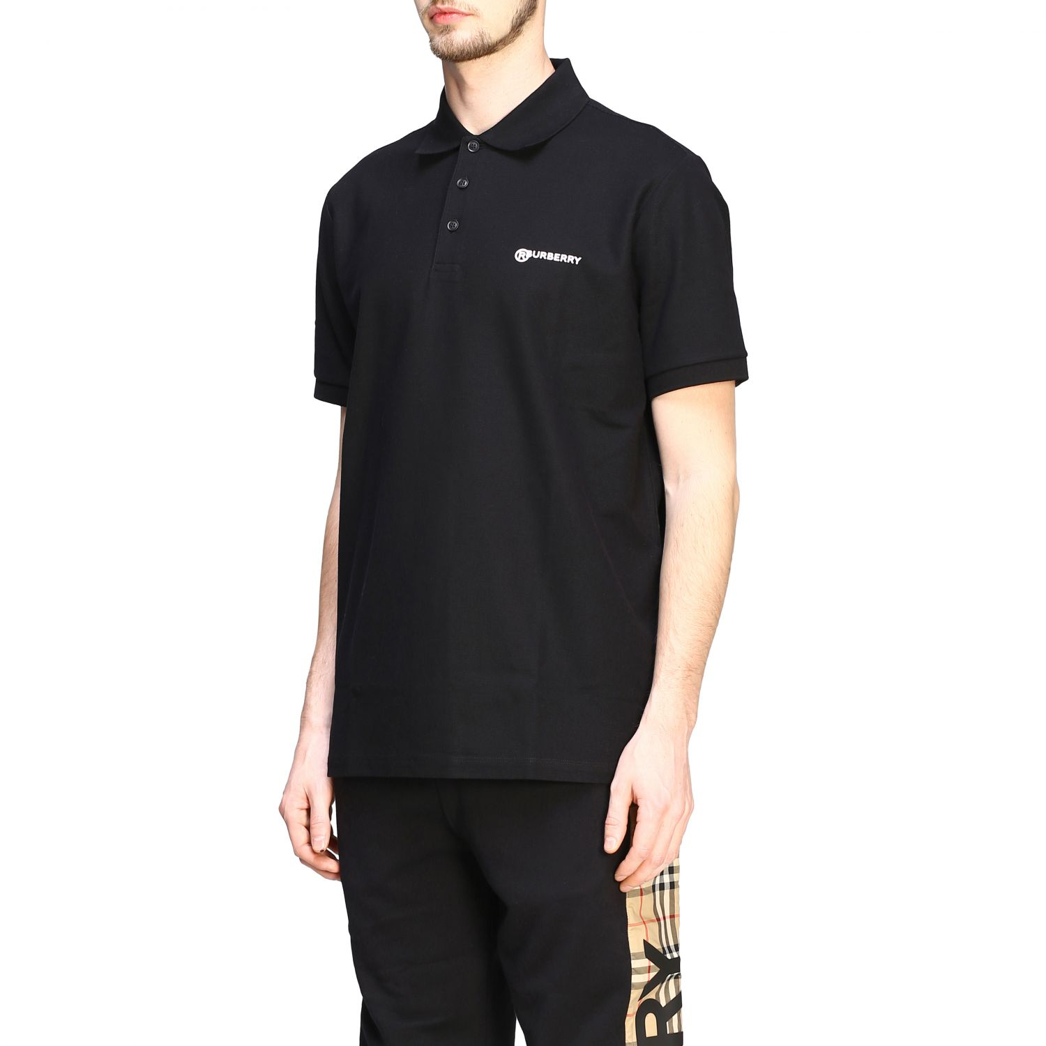 Polo shirt Burberry: Short-sleeved Burberry polo shirt with embroidered logo black 4