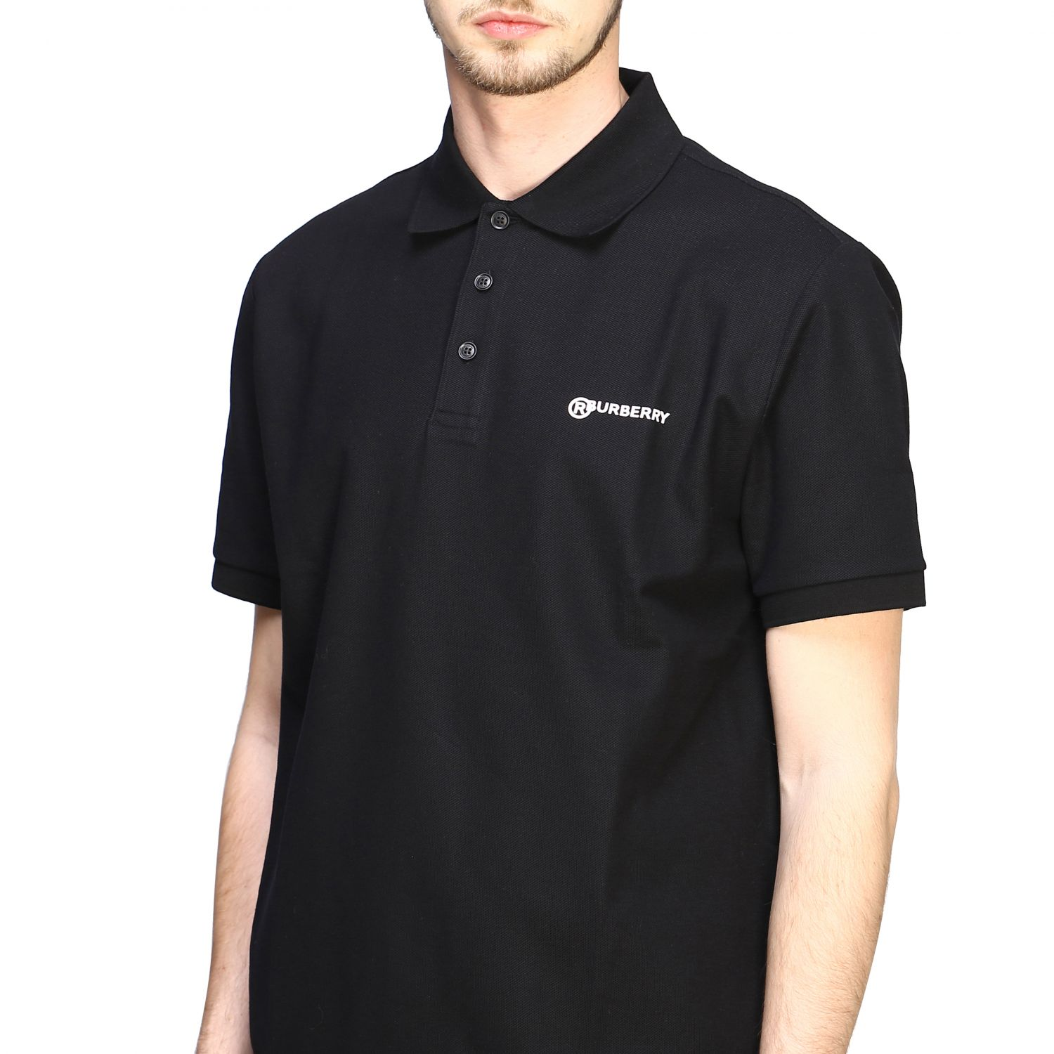 Polo shirt Burberry: Short-sleeved Burberry polo shirt with embroidered logo black 5
