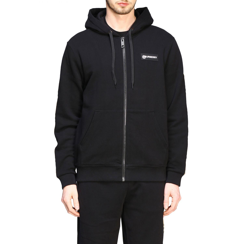 Felpa Burberry con cappuccio e zip con bande check e logo nero 1