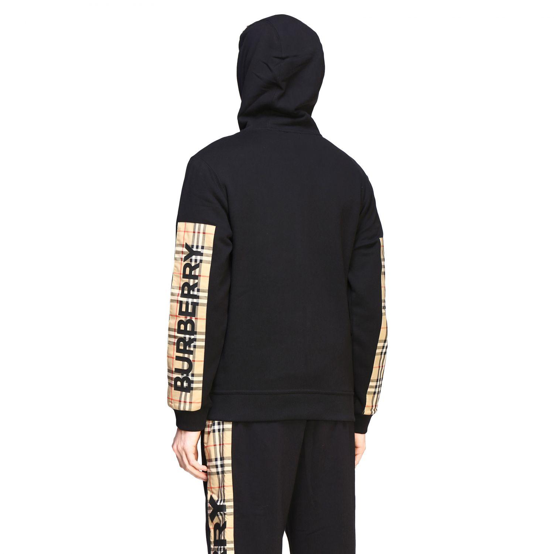 Felpa Burberry con cappuccio e zip con bande check e logo nero 3