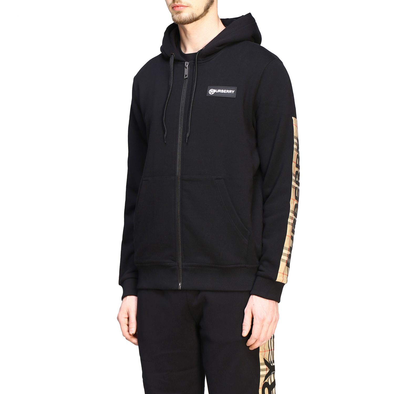 Felpa Burberry con cappuccio e zip con bande check e logo nero 4