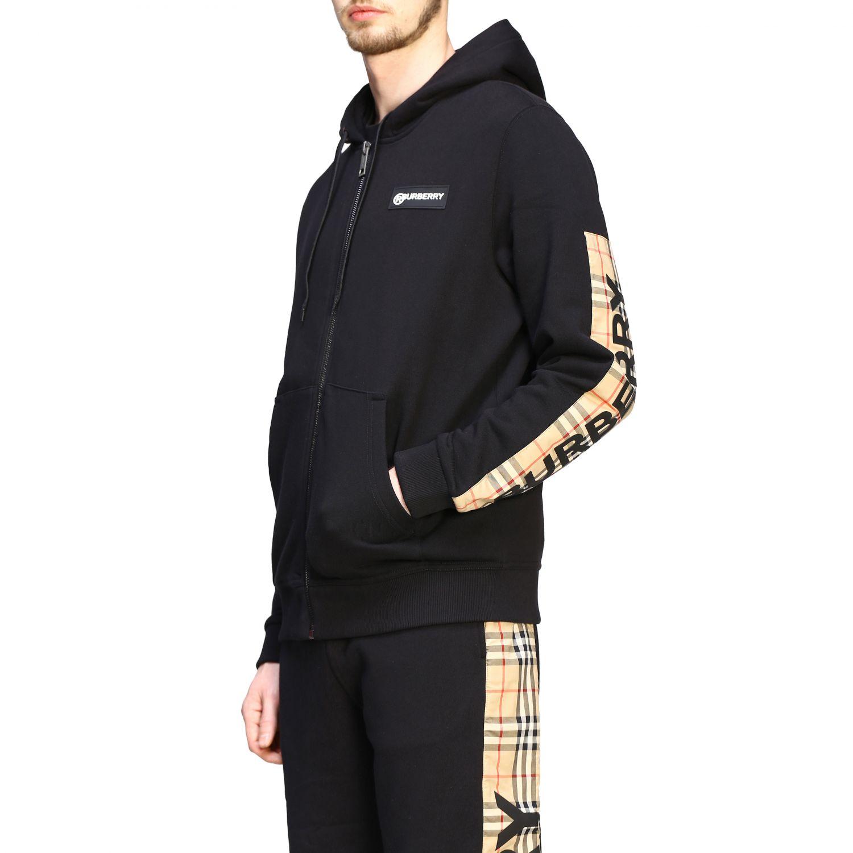 Felpa Burberry con cappuccio e zip con bande check e logo nero 5