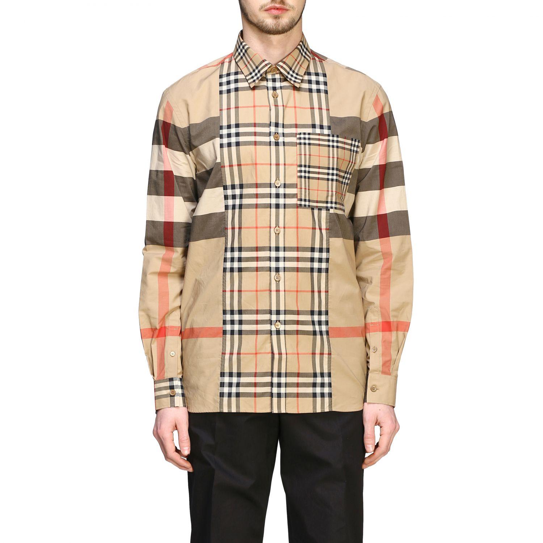 Camicia Burberry check patchwork con collo italiano beige 1