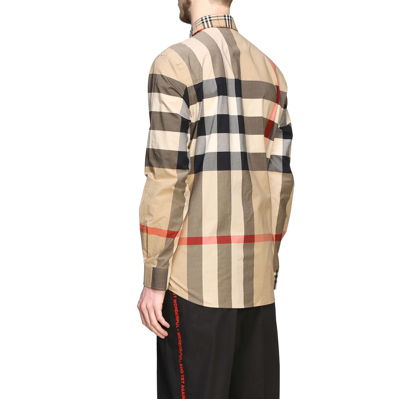 Camicia Burberry check patchwork con collo italiano beige 3