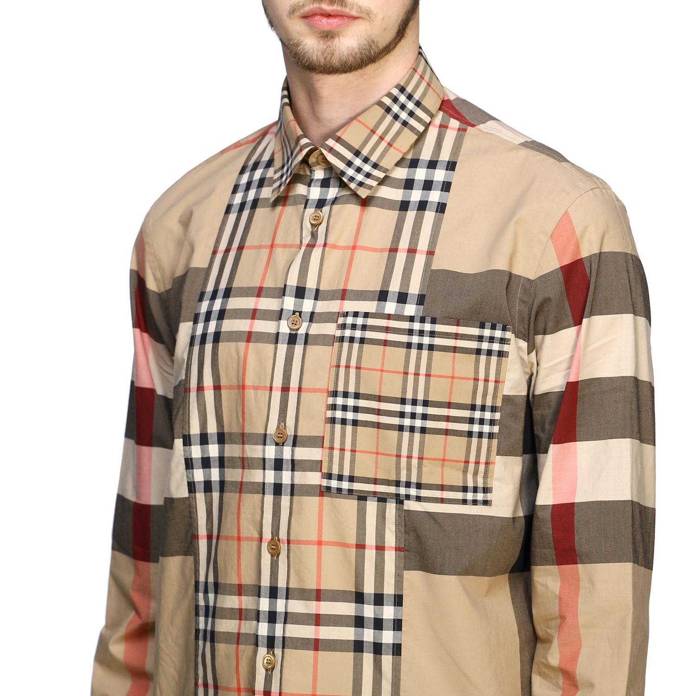 Camicia Burberry check patchwork con collo italiano beige 5