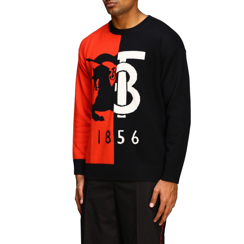 Pullover Burberry: Burberry Kaschmirpullover mit Rundhalsausschnitt und 1856 Logo schwarz 4