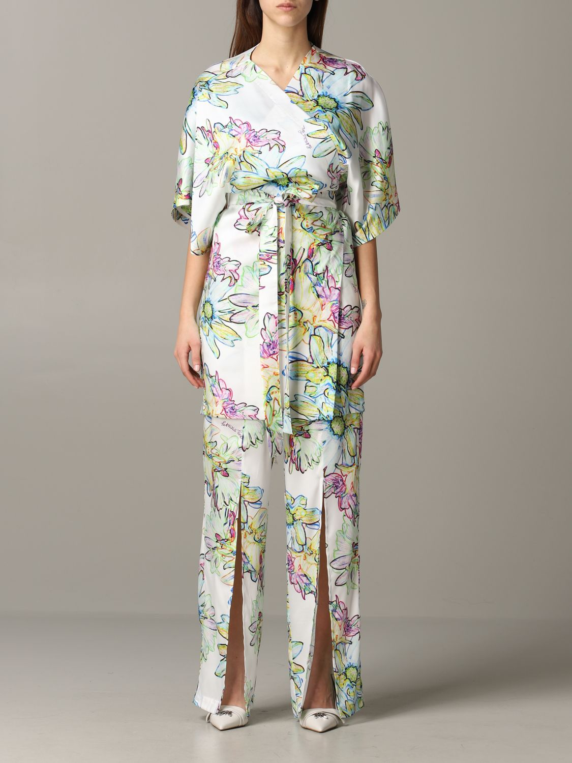 Patrizia Pepe jumpsuit in floral patterned satin white 1